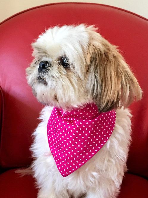 Dog Bandana Pink Polka Dot pop fastner style by Woof Stuff Ireland