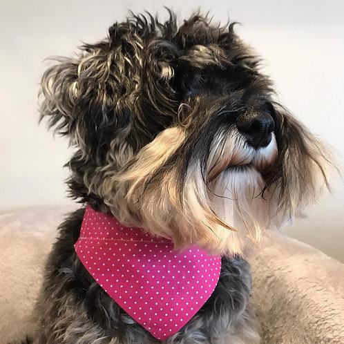 Dog Bandana Precious Pink Polka Dot by Woof Stuff Dublin Ireland