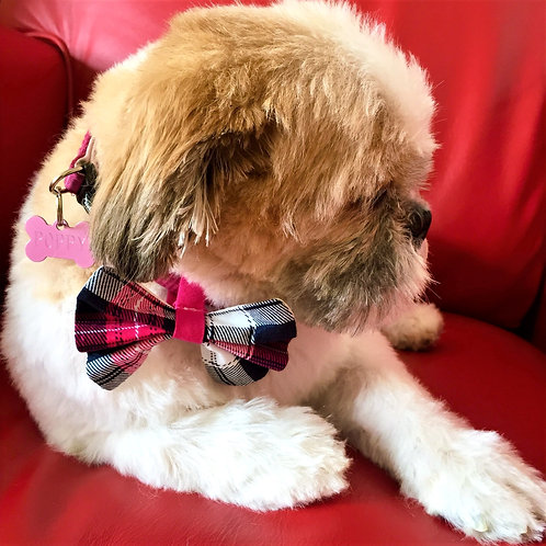 Dog Dickie Bow Pink Tartan by Woof Stuff Dublin Ireland