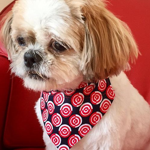 Dog Bandana Red and White Geometric Circles by Woof Stuff Ireland