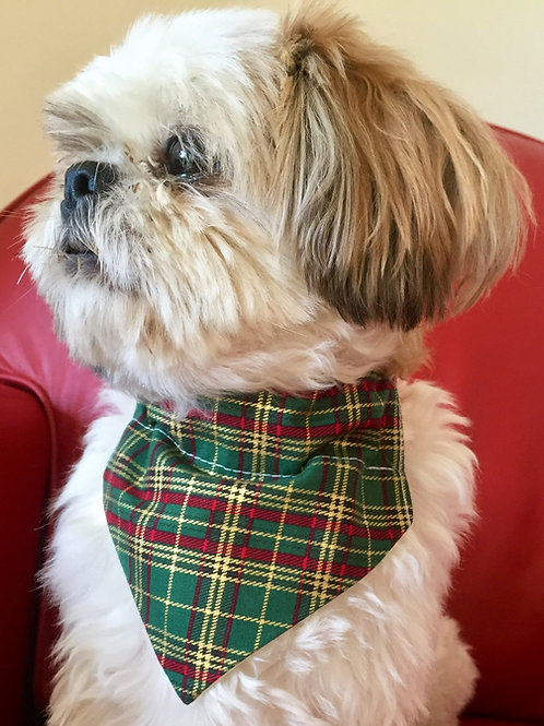 Dog Bandana Personalized Green and Gold Tartan by Woof Stuff