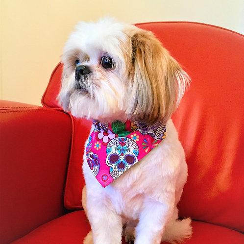 Dog Bandana Pink Sugar Skulls by Woof Stuff Ireland