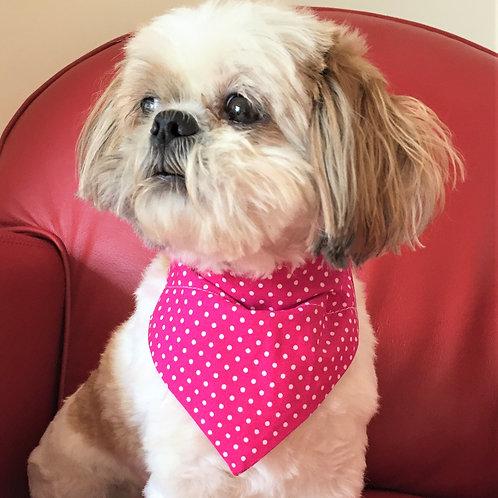 Dog Bandana Personalized Pink Polka Dot by Woof Stuff Ireland