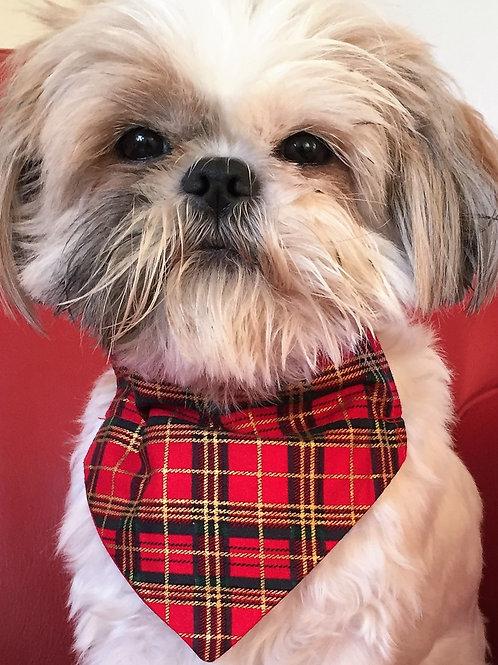 Dog Bandana Rich Red and Gold Tartan by Woof Stuff