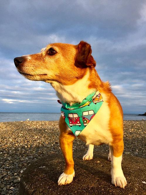 Dog Bandana  Turquoise Camper Van by Woof Stuff