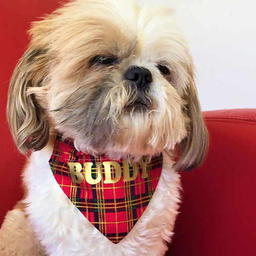 Dog Bandana Personalized Red Tartan by Woof Stuff