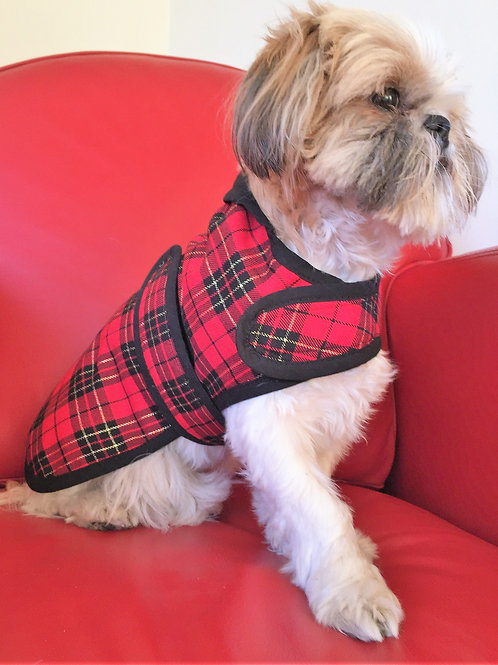 Dog Jacket Red and Black Tartan by Woof Stuff