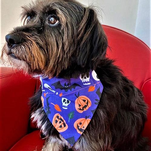 Dog Bandana Halloween Pumpkins and Skulls by Woof Stuff Dub