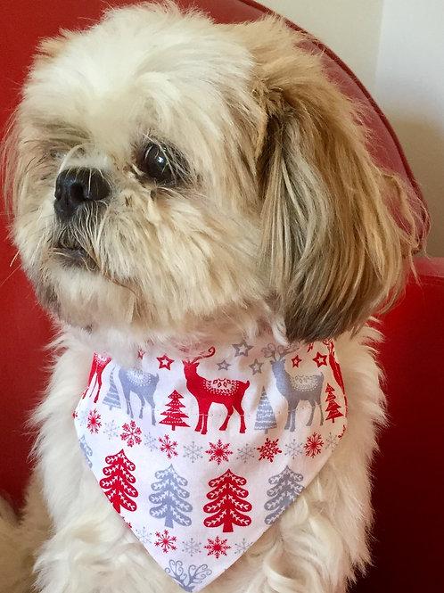Dog Bandana Christmas Red Reindeer by Woof Stuff
