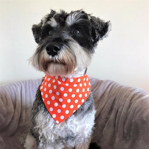 Dog Bandana Orange with White Polka Dots by Woof Stuff Ireland