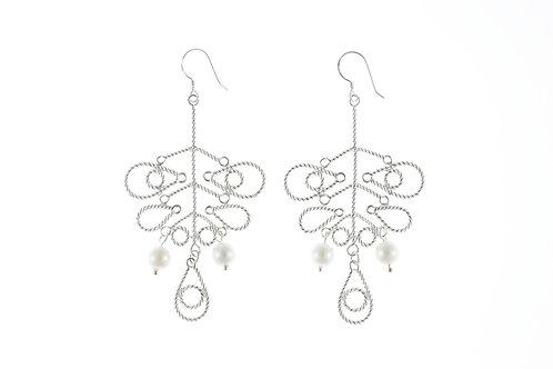 花形扭絲耳環(長)