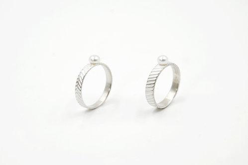 珍珠V紋/斜紋戒指