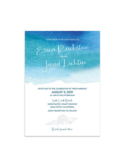 Ocean Watercolor Wedding Invitation Set