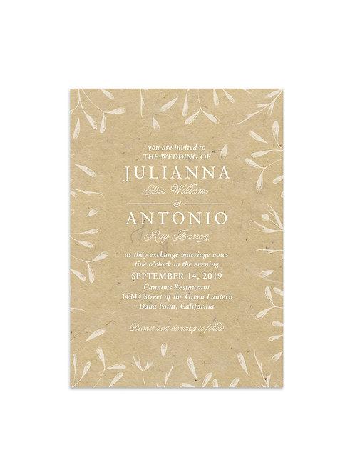 White Leaf Framed Wedding Invitation Set