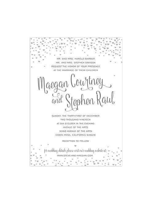 Heart Confetti Wedding Invitation Set