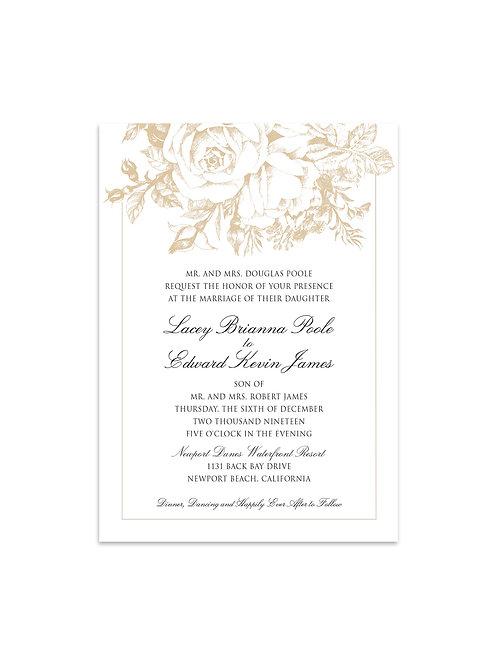 Beige Hand Drawn Rose Invitation Set