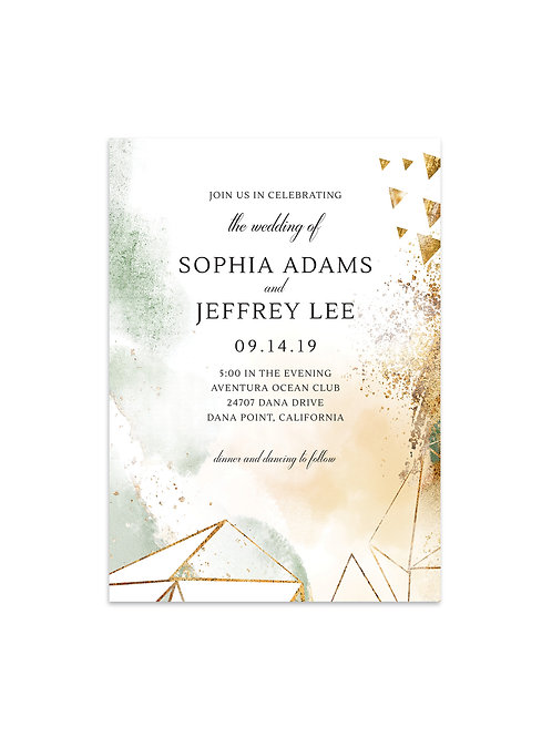 Contemporary Watercolor and Geo Wedding Invitation