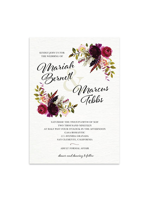 Burgundy Bohemian Wedding Invitation Set