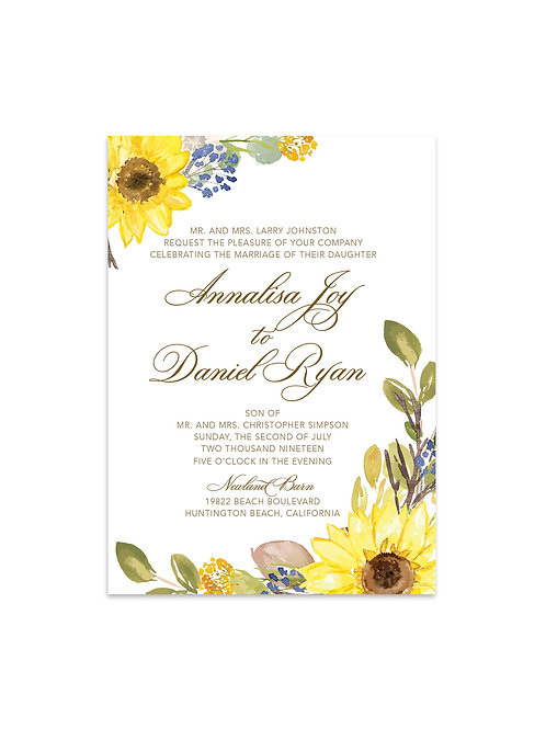 Sunflower Wedding Invitation Set