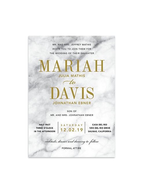 Contemporary Mable Wedding Invitation Set