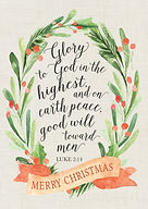 Watercolor Wreath Christmas Card - Glory to God