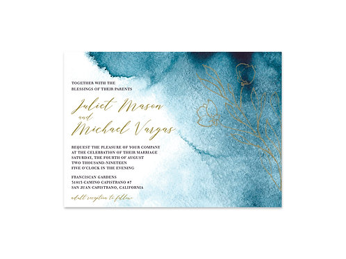 Blue Ombre Watercolor Wedding Invitation Set