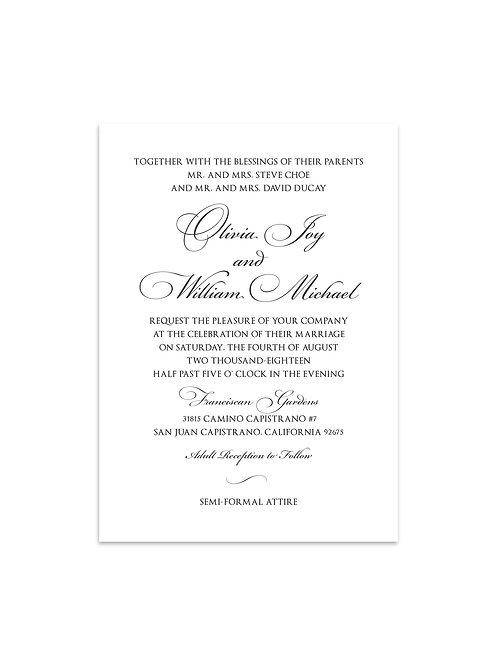 Traditional Black & White Wedding Invitation Set