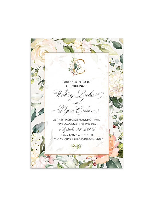 Beautiful Soft Floral Wedding Invitation Set