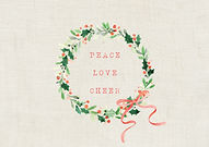Peace Love Cheer Wreath Christtmas Card