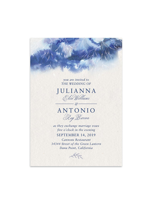 Whispering Blue Watercolor Wedding Invitation Set