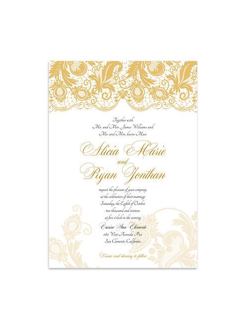Victorian Lace Wedding Invitation Set