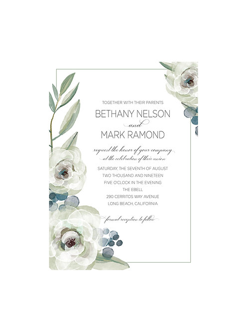 Watercolor White Florals & Teal Wedding Invitation Set