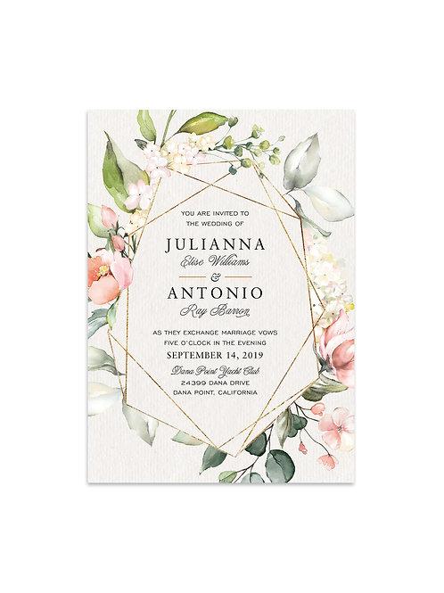 Florals and Geo Wedding Invitation Set