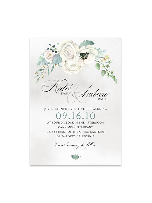 Creamy White & Green Floral Invitation Set