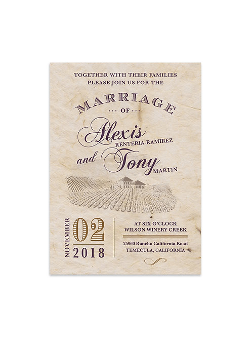 Rustic Winery Wedding Invitation Set