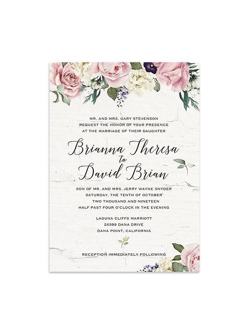 Pink & White Garden Flower Invitation Set