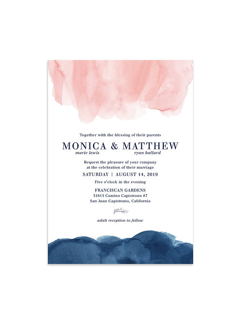 Pink & Navy Watercolor Invitation Set