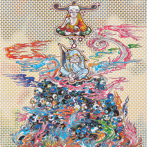 """""""2 Arhats Meditating Amid the Hellfire of the Mound of the De"""" by Takashi Murak"""
