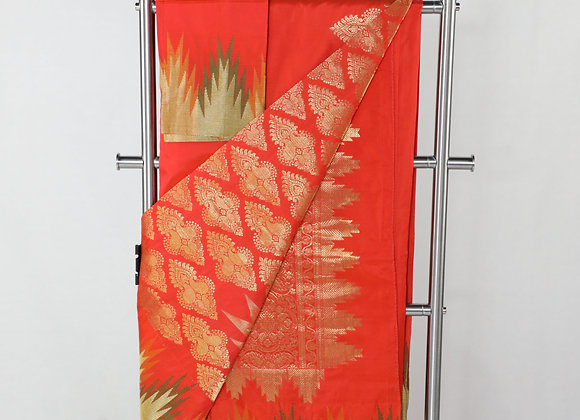 Banarsi Saree In Red Color With Blouse Piece