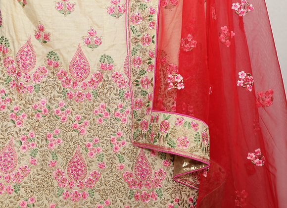 Party Wear lengha in Red Color