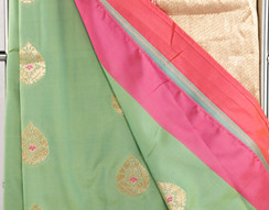 Silk Saree, stitched petticoat with fall and unstitched blouse for party wear