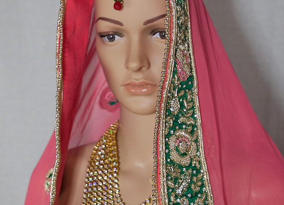 Green With Pink Lehenga