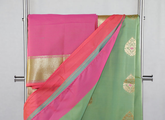Saree in Green Color in Pink Border
