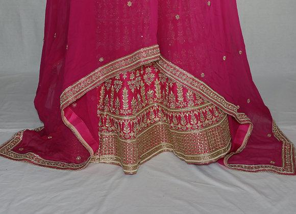 Flamingo Pink Resham and Gold Sequin Lehenga