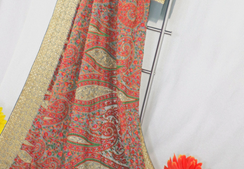 Grey georgette saree with gold zari work, stitched petticoat with fall and unstitched blouse for party wear