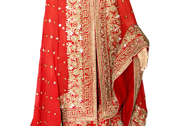 Red Bridal Silk Lehenga
