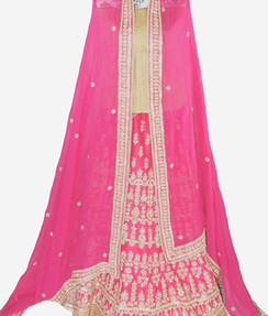Pink and Gold embroidered art silk semi stitched lehenga with gold work for bridal wear