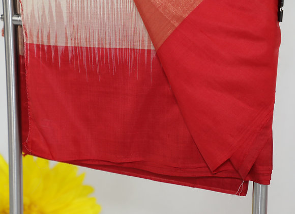 Red & White Mix Plain Saree
