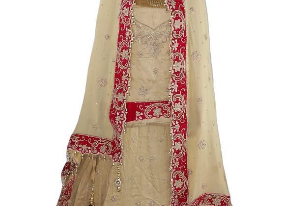 Black and Red & Cream Sequin Lehenga