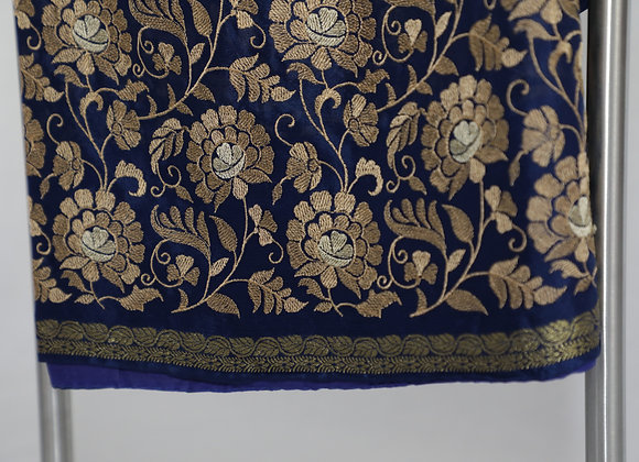Printed Navy Blue Saree